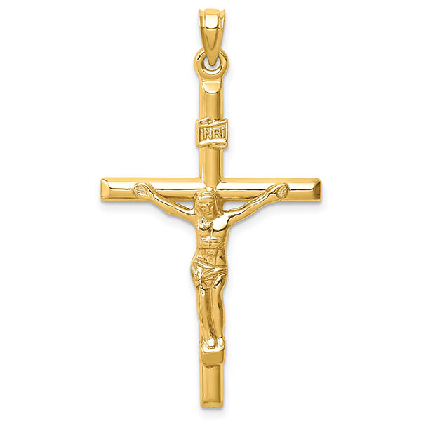 14K Gold Men's Traditional Crucifix Pendant