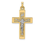 14k two-tone gold textured crucifix inri pendant for men