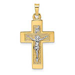14k two-tone gold textured crucifix inri pendant for women