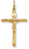 22K Solid Gold Crucifix Pendant Necklace
