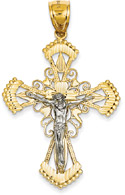 Diamond-Cut Crucifix Pendant in 14K Two-Tone Gold