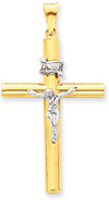 Crucifix Necklace, 14K Two-Tone Gold