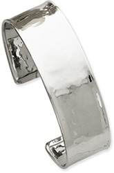 14K White Gold Lightly-Hammered Cuff Bracelet (3/4