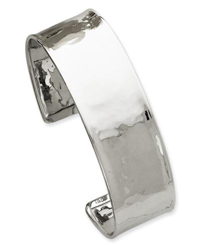 14K White Gold Lightly-Hammered Cuff Bracelet (3/4