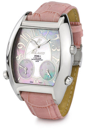 3 Time Zone Polanti Watch, Light Pink