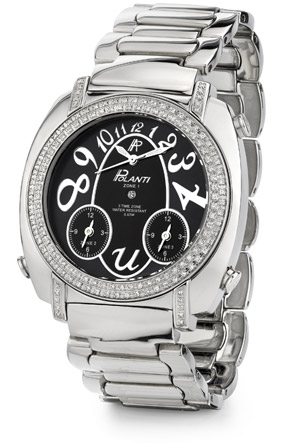 Usher Polanti Watch with 1 Carat of Diamonds, Stainless Steel