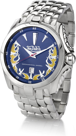 Von Dutch Watch - Mechanical Angel Collection, Stainless Steel with Blue (Watches, Apples of Gold)