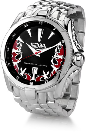 Von Dutch Watch - Mechanical Angel Collection, Stainless Steel Black (Watches, Apples of Gold)