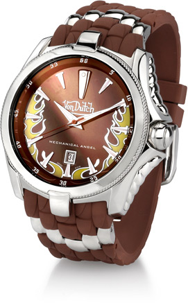 Buy Von Dutch Watch – Mechanical Angel Collection, Stainless Steel & Brown Silicon