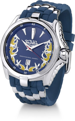 Buy Von Dutch Watch – Mechanical Angel Collection, Stainless Steel & Blue Silicon