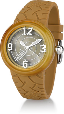 Buy Von Dutch Watch – Spiral Collection Large, Beige Silicon Band