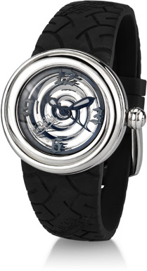 Von Dutch Watch - Spiral Collection Small, Stainless Steel & Black Silicon (Watches, Apples of Gold)