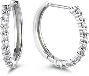 Buy Classic 1/4 Carat Diamond Hoop Earrings