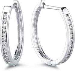1/4 Carat Channel Set Diamond Hoop Earrings (Earrings, Apples of Gold)
