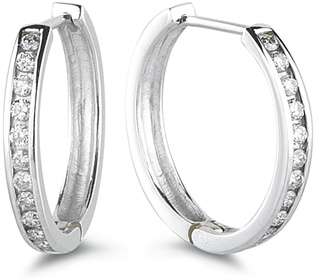 Buy 1/2 Carat Channel Set Diamond Hoop Earrings