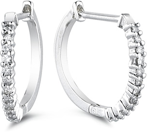 Classic 1/2 Carat Diamond Hoop Earrings, 14K White Gold