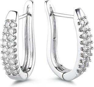 Buy 1 Carat Half-hoop Earrings, 14K White Gold