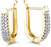 1/2 Carat Diamond Half-Hoop Earrings, 14K Yellow Gold