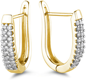 1/2 Carat Diamond Half-Hoop Earrings, 14K Yellow Gold (Earrings, Apples of Gold)