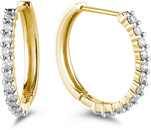 Buy Classic 1/4 Carat Diamond Hoop Earrings, 14K Yellow Gold