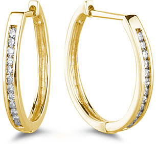 Buy 1/4 Carat Set Diamond Hoop Earrings, 14K Yellow Gold