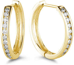 1/2 Carat Channel Set Diamond Hoop Earrings, 14K Yellow Gold (Earrings, Apples of Gold)