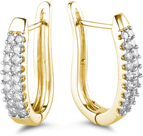 1 Carat Half Hoop Earrings, 14K Yellow Gold (Earrings, Apples of Gold)