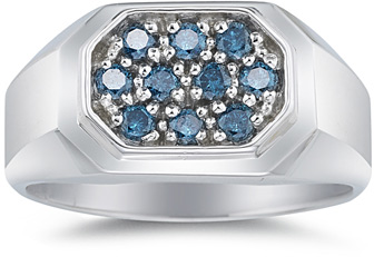 1/2 Carat Men's Blue Diamond Ring