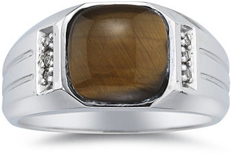 Buy Men's Cat's Eye and Diamond Ring, 10K White Gold
