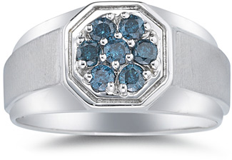 Men's 1/2 Carat Blue Diamond Ring