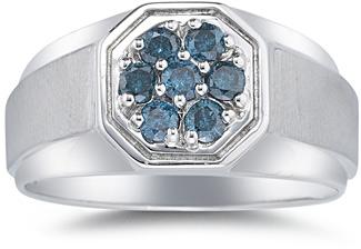Men's 1/2 Carat Blue Diamond Ring