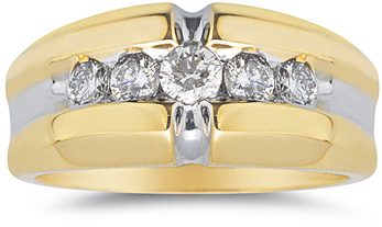 1 Carat Men's Designer 14K Two-tone Diamond Ring