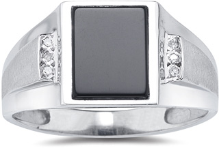 Men's Onyx and Diamond Ring, 10K White Gold