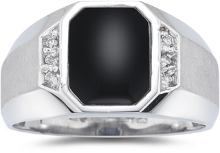 Men's Regal Onyx and Diamond Ring, 10K White Gold
