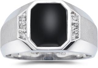 Men's Regal Onyx and Diamond Ring, 10K White Gold