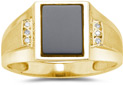 Men's Onyx and Diamond Ring, 10K Yellow Gold