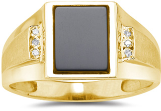 Buy Men's Onyx and Diamond Ring, 14K Yellow Gold