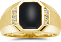 Men's Regal Onyx and Diamond Ring, 10K Yellow Gold