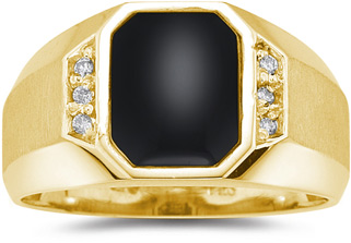 Men's Regal Onyx and Diamond Ring, 14K Yellow Gold (Apples of Gold)