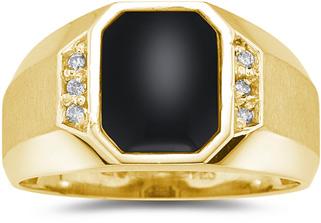 Men's Regal Onyx and Diamond Ring, 10K Yellow Gold