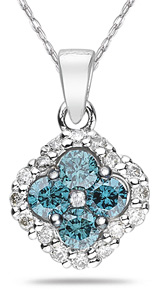 1.2 Carat Blue and White Diamond Flower Pendant, White Gold (Pendants, Apples of Gold)