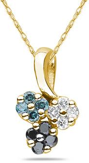 Buy Three Color Diamond Flower Pendant, 14K Yellow Gold