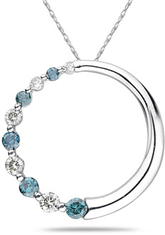 Buy Blue and White Half Diamond Circle Pendant, 10K White Gold