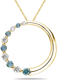 Buy Blue and White Diamond Circle Pendant, 10K Yellow Gold