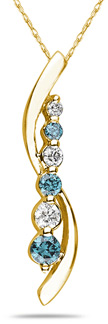 Buy Blue and White Diamond Journey Pendant, 14K Yellow Gold