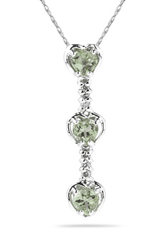 Buy Heart Shaped Green Amethyst and Diamond Drop Pendant