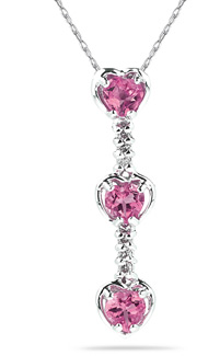 Buy Heart Shaped Pink Topaz and Diamond Drop Pendant