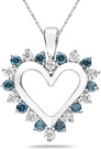 1 Carat Blue and White Diamond Pendant, 14K White Gold