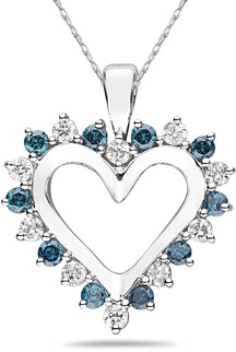 1 Carat Blue and White Diamond Pendant, 14K White Gold (Pendants, Apples of Gold)