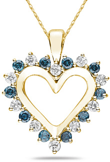 1 Carat Blue and White Diamond Heart Pendant, 14K Yellow Gold